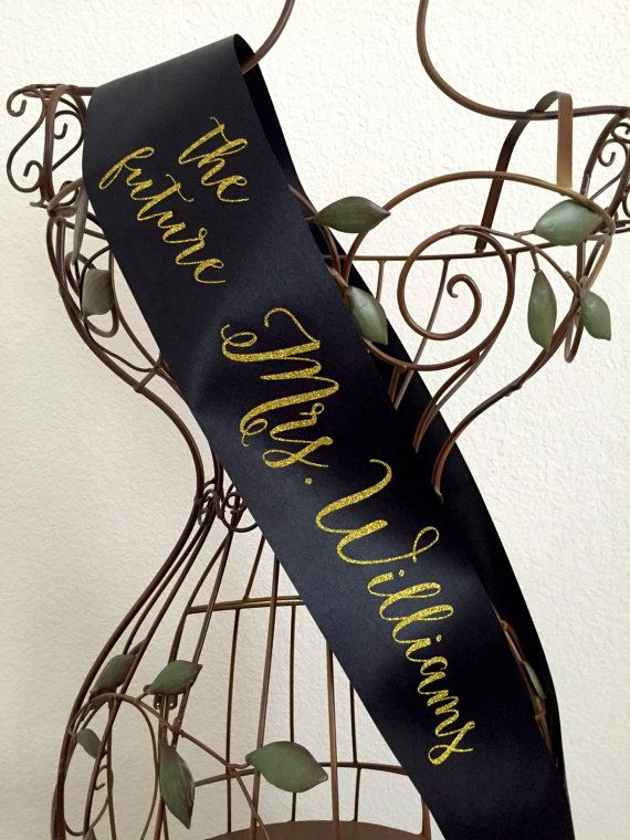 Gold or Silver Sparkle Future Mrs. Sash - Available in 15 sash colors by regalribbons on Etsy