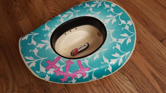 Hand Painted Turquoise Cowboy/Cowgirl Hat by BlackburnBoutique