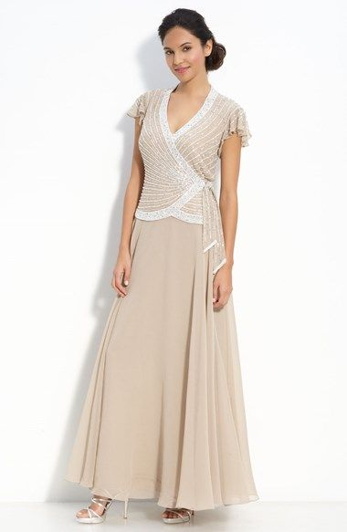 J Kara Beaded Mock Two-Piece Crepe Gown available at #Nordstrom