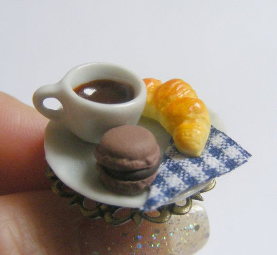 Food Jewelry Croissant and Hot Chocolate Ring Macaroon by NeatEats