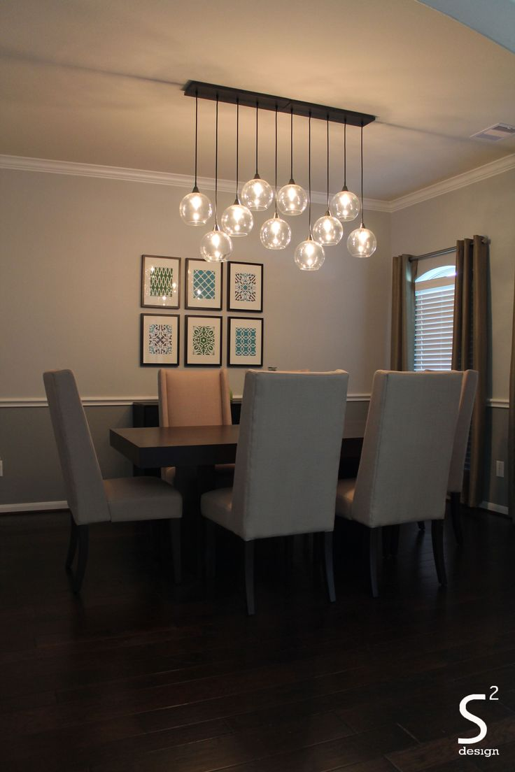 Dining Room Green Curtains Blue Glass Chandelier High Back Chairs Black Rectangle Table Sugar