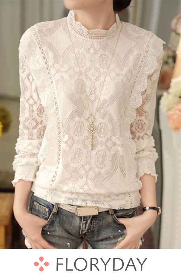 Solid Elegant High Neckline Long Sleeve Blouses