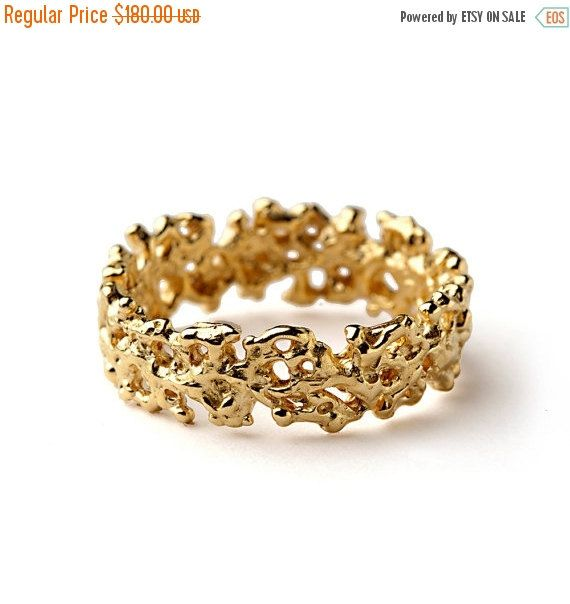 Nice Valentines Day SALE CORAL Wedding Band Yellow by AroshaTaglia