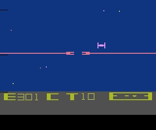 No, that is not a Tie Fighter and this is not a Star Wars game. This is Star Raiders for the 2600. One of my all time favorite both because I could imagine I was in an X-Wing and also for the ground-breaking keypad accessory.