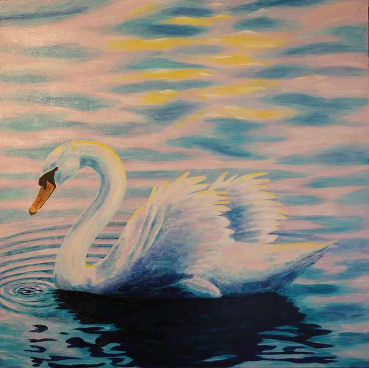 Serenity Swan painted using Acrylic on Board