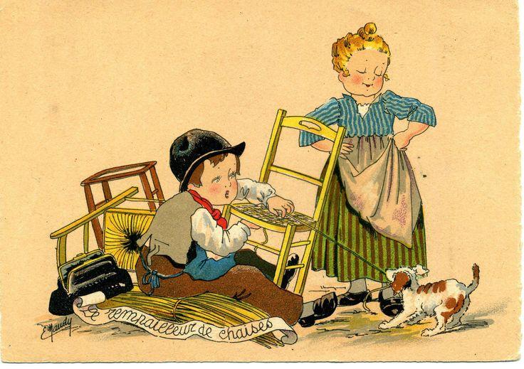 """Carte Postale : E.NAUDY : les petits métiers """" Le REMPAILLEUR de CHAISES"""" • EUR…"""