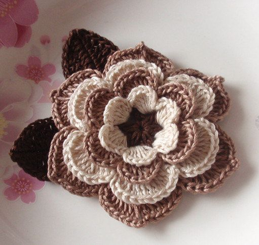 Crochet Flower 3 inches With Leaves YH12301 by YHcrochet on Etsy, $3.80