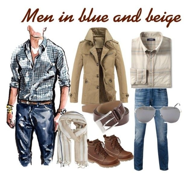 Beige and jeans by mariliart on Polyvore featuring Lands' End, Levi's, L.L.Bean, MANGO MAN, HUGO, Yves Saint Laurent, men's fashion and menswear