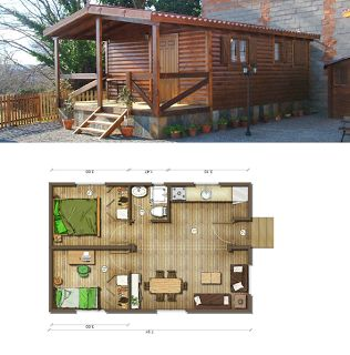 Casas de Madera En España: Planos casas de madera 40 m2