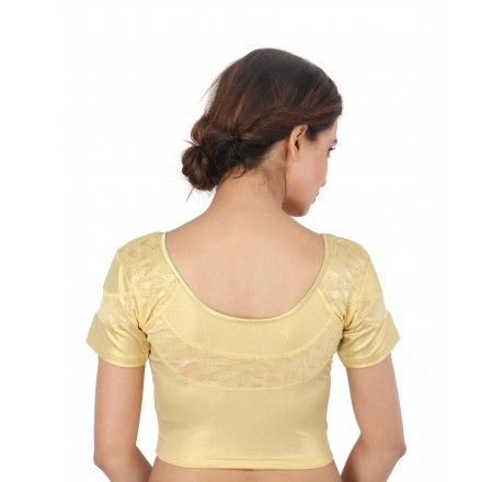 Gold stretchable blouse crop top with net work on the back - Stretchable Lycra & Velvet Blouse - Blouses - Saree,Blouse & more
