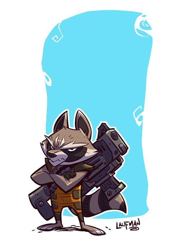 Rocket Raccoon by DerekLaufman, Guardians of the Galaxy Fan Art, Digital Painting, Cartoon, Inspirational Art