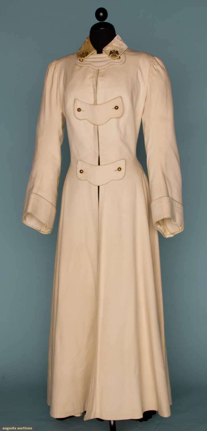 Woman's Military-Style White Wool Broadcloth Coat, with Brass Buttons and Beige Velvet Collar, c. 1910