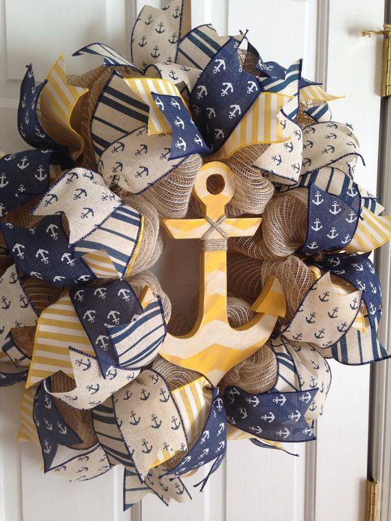 Anchor Wreath, Memorial Day Wreath, Patriotic Wreath, Deco Mesh Wreath