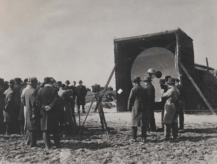 Parabolic reflector at St Margaret's Bay, Dover, for first public demonstration of microwave transmission, 3 April 1931. IET Archives NAEST 211/02/30/02/01