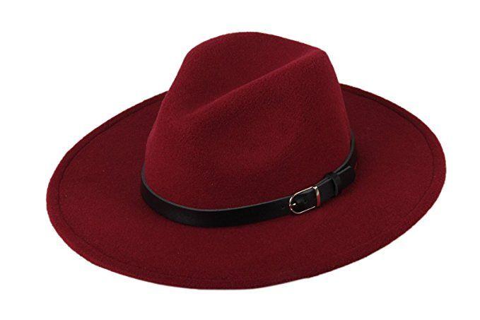 976617aea56 Prefe Women Wide Brim Vintage Wool Jazz Hat Panama Hat With Belt (Wine Red