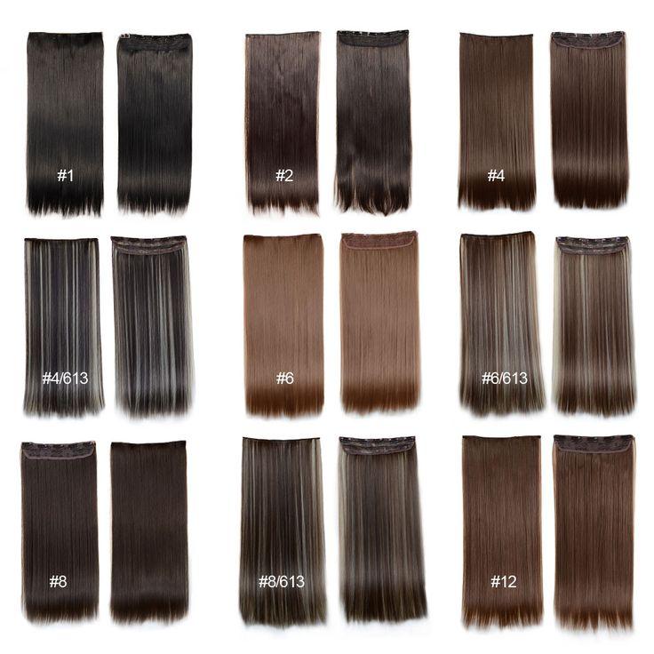 Clip En Extensions de Cheveux 24 pouces 60 cm 120g 5 clips Longue Ligne Droite Synthétique Cheveux Clip en Cheveux Synthétiques Extension Livraison Gratuite