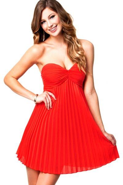 Orange Pleated Bandeau Padded Style Evening Dress