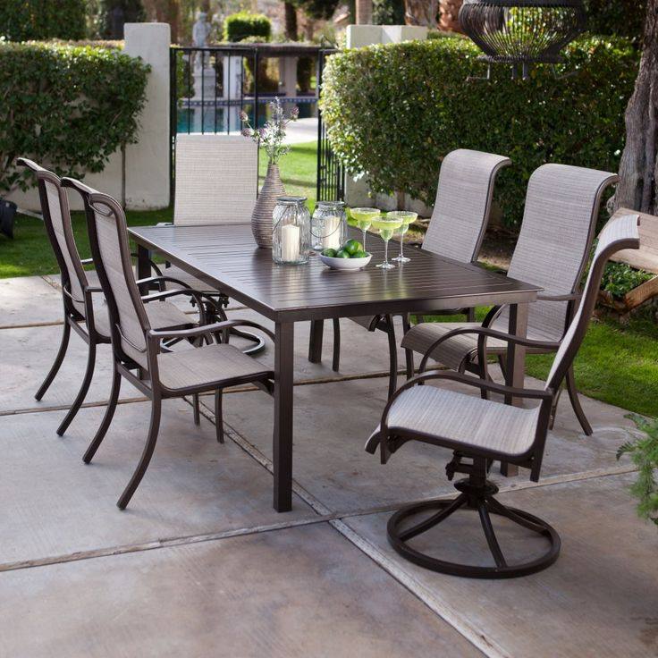 Coral Coast Del Rey Deluxe Padded Sling Aluminum Table Dining Set - Seats 6 - Bring the family to the patio for a little bonding time around the Coral Coast Del Rey Deluxe Padded Sling Aluminum Table Dining Set - Seats 6 . This...