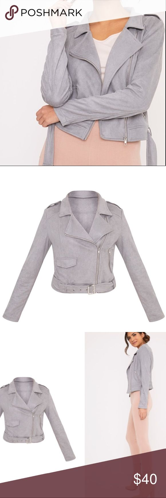 Grey Faux Suede Biker Jacket Worn once in excellent condition- Runs true to size. Every girl needs a faux suede jacket in their life- and this is the perfect wardrobe essential. Style with a pair of high waisted skinny jeans and ankle boots for a lust-worthy season look.! pretty little thing Jackets & Coats
