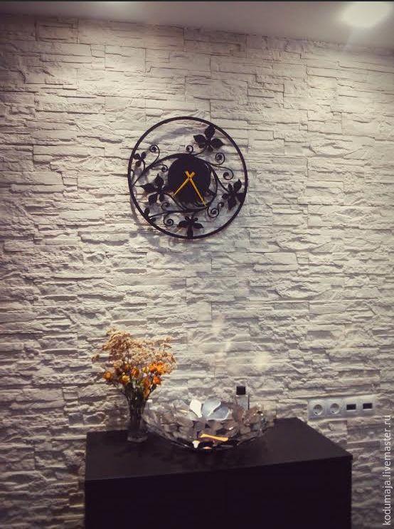 "Wall clock ""Bindweed"". Metal wall clock. Black colour. 45cm. Wall clock KODUMAJA. Made of metal. Black and yellow. Steel."