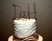 Rustic Cake Topper with Your Initials and HEART Accents, Table Centerpiece with Your Initials, Monogram Cake Topper. $24.00, via Etsy.