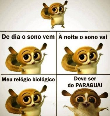 De dia o sono vem, à noite o sono vai, meu relógio biológico deve ser do Paraguai.