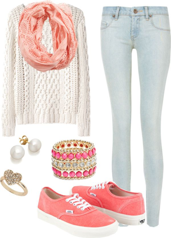 White crochet knit sweater, light blue faded skinny jeans, coral Vans, scarf, bracelet, ring, and pearl earrings