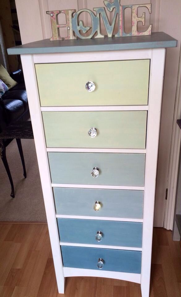 Beautiful hand painted tall boy draws with crystal handles. By Vintage Revamp.