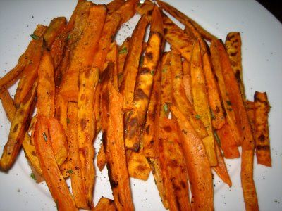 Baked Sweet Potato Fries.  Especially love these with some sea salt and a little Cajun/Creole seasoning!