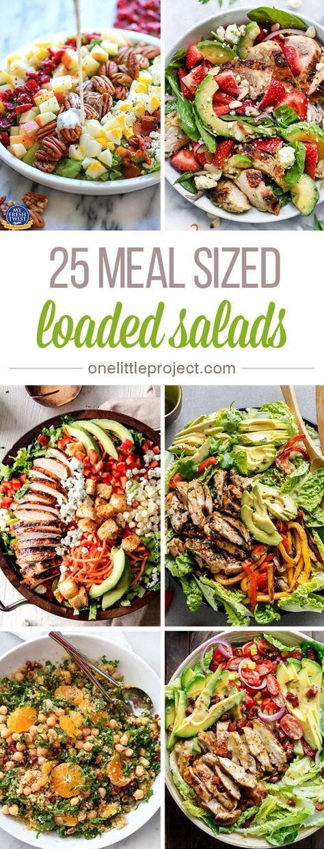 These meal sized loaded salads look AMAZING! I'm always worried that I won't be full after eating a salad for dinner, but these salads have everything!