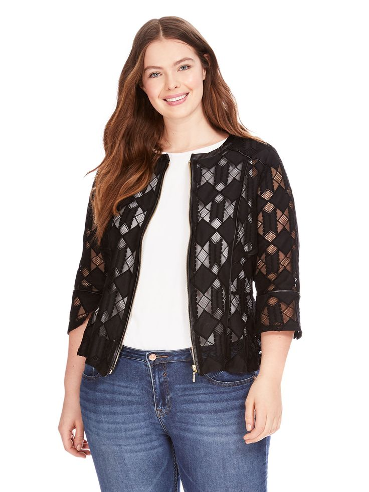 Front Zip Geometric Lace Jacket by INC International Concepts Available in  Sizes 0X-3X