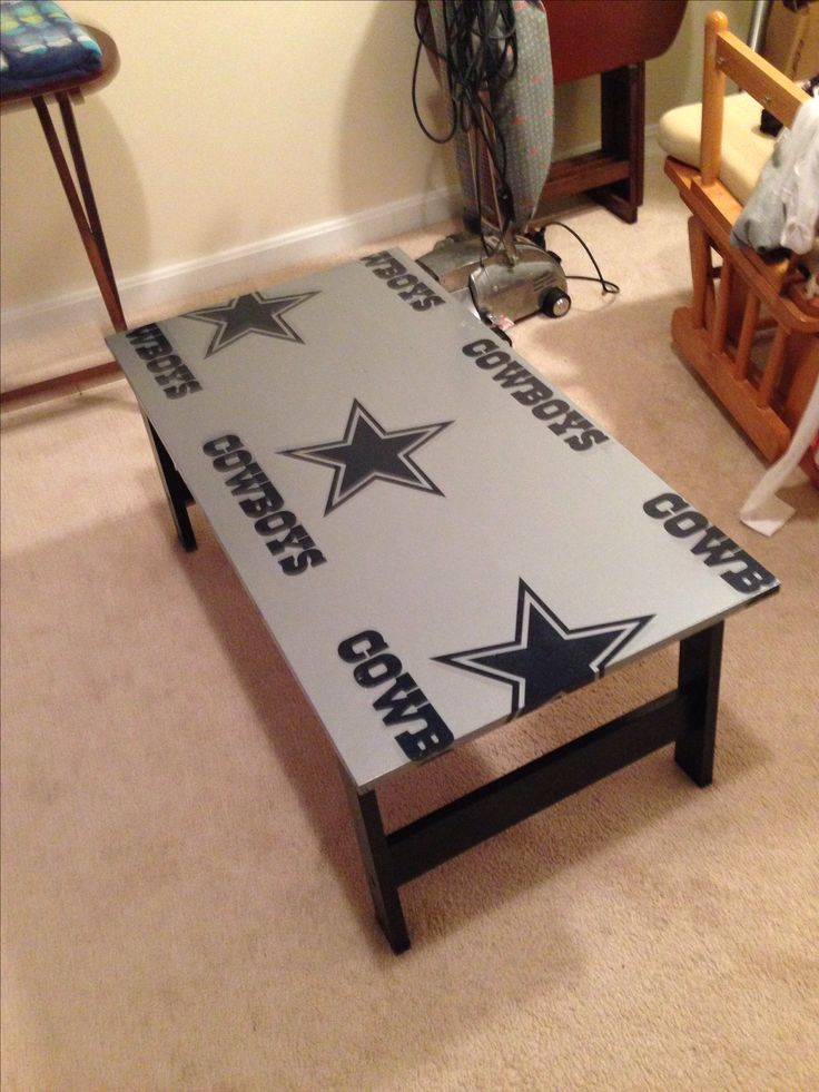 Rug Store Cowboys Table I Took an old Dallas Cowboys plastic rain poncho and made it into