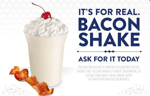 i think this is fitting for my first pinFood Chains, Milk Shakes, Bacon Milkshakes, Jack O'Connel, Blog, Boxes Bacon, Fast Food, Drinks, Bacon Shakes