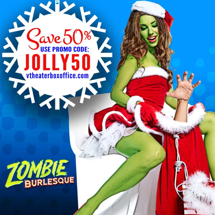 A cup of naughty with a pinch of nice!  'Tis the season to be jolly with 50% off #tickets to Zombie Burlesque. Now through December 23, 2015 get tickets for #halfoff with #code: JOLLY50 at checkout. Head to www.VTheaterBoxOffice.com to take advantage of this #specialoffer!  ---- ----  #Vegas #BestAdultShows #HappyHolidays #Zombie #LasVegasShows #TicketDeals #Burlesque #VegasBound