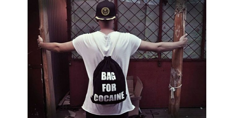 Backpack - BAG FOR COCAINE Black 100% cotton 39 PLN