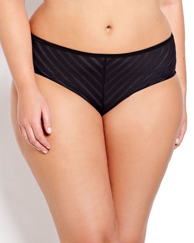 Diagonal textured stripes meet all-over seductive mesh back to refresh your lingerie drawer in style. Plus size panty, high cut leg opening, regular rise, elastic waistband. Stretchy and comfy!