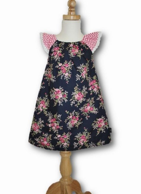 Navy Roses Dress Available in SIZES 1-4 $25.00