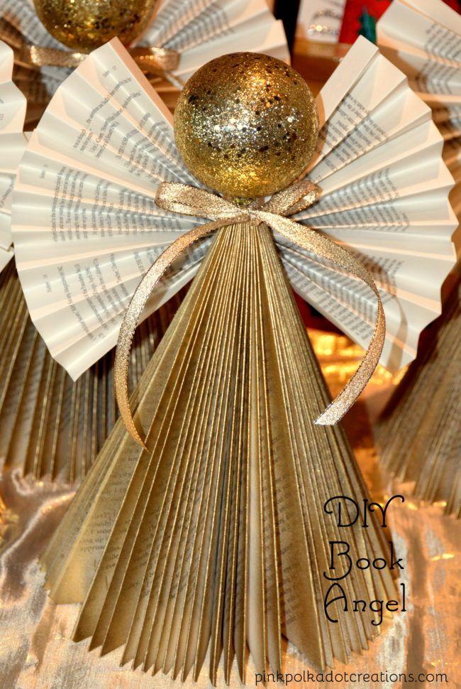74dab9aa181a DIY Christmas Book Angels   Kreatív hobbi   Navidad reciclada, Deco navidad  és Manualidades navideñas