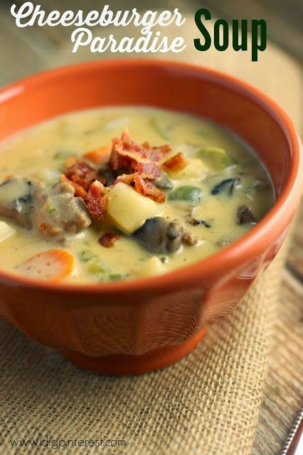 Cheeseburger Paradise Soup.  If there ever was a warm, comforting meal when Jack Frost is nipping at your nose, it's this Cheeseburger Paradise Soup.  Loaded with veggies, beef and of course cheese, it's sure to be a hit with your family this winter!