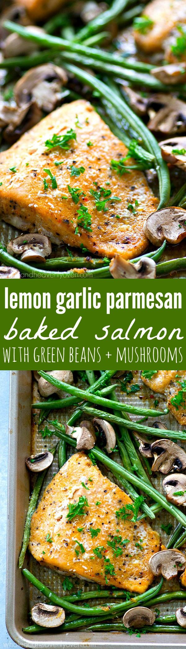 Roasted in a flavorful lemon garlic Parmesan sauce and lots of little mushrooms and green beans, this baked salmon is a breeze to throw together for a weeknight dinner and is packed with SO many amazi (Lemon Butter Garlic)