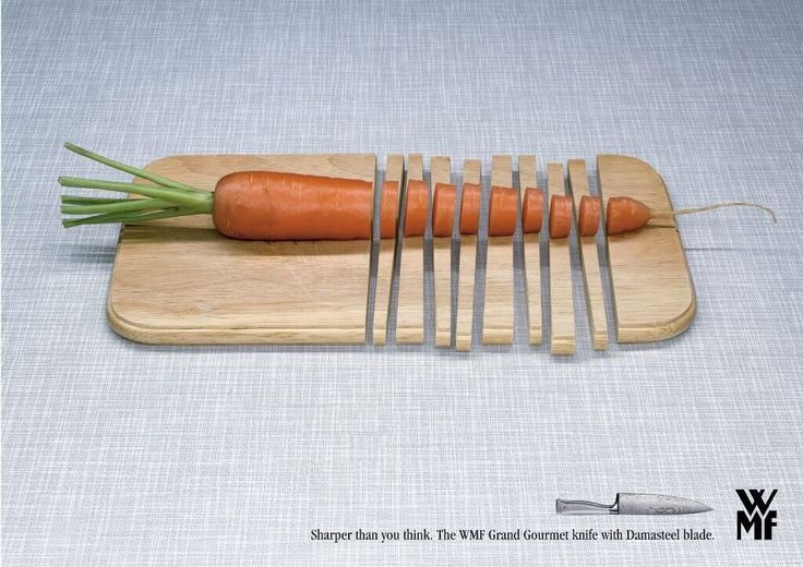 """""""Sharper than you think"""" - a very clever advert for knives. #print #adverts"""