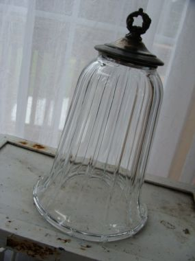 DIY cloche made with a glass candle or lamp sconce and cast off silver lid.