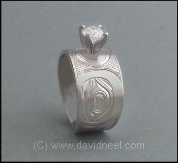 Northwest Coast Native Humminbird Ring, Platinum & Diamond by David Neel  #nativeamericanindianweddingring #nativeindianplatinumring  http://www.davidneel.com/native-jewelry-platinum-rings-c-53_56.html