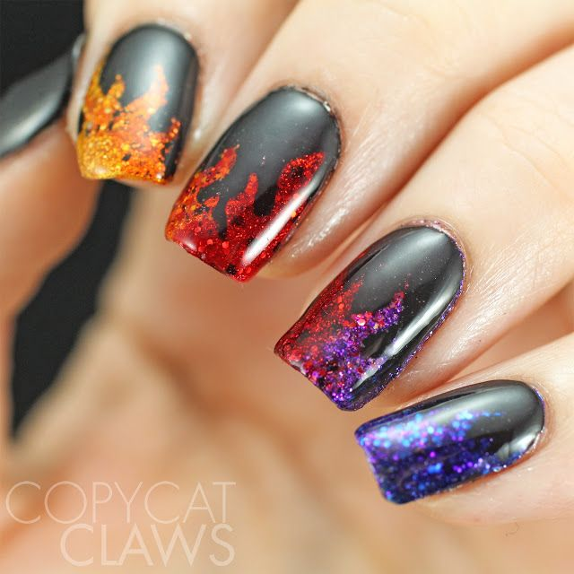 Love this smoldering mani by @CopycatClaws using our Fire Nail Vinyls. Find them at snailvinyls.com