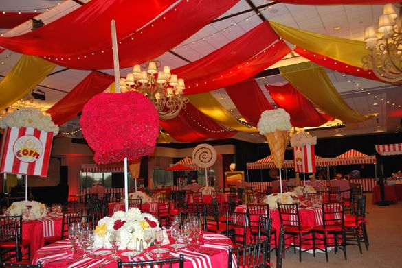 Carnival Theme Party for Adults | ... carnival flavor. Black chivari chairs with red chair pads completed