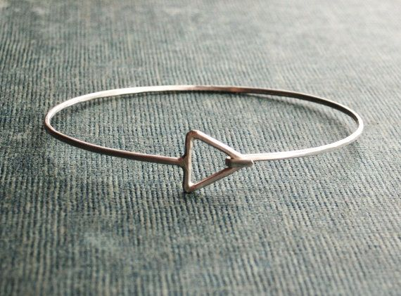 Triangle Sterling Silver Bangle by SDMarieJewelry on Etsy, $50.00 - Not sure if it's totally your style but @Britta Trygstad, you may like this!
