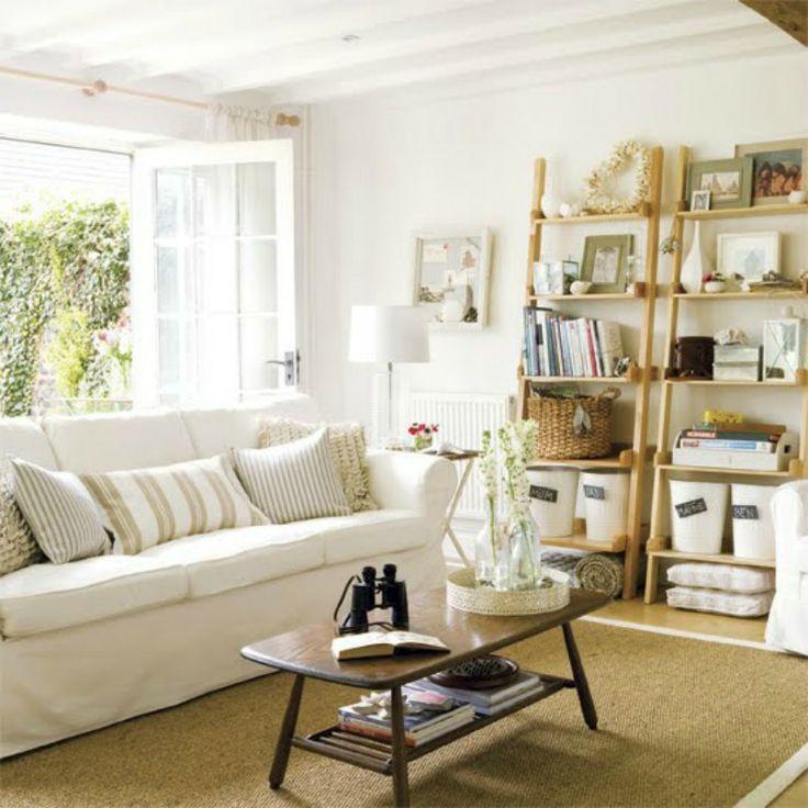 coastal feel livingroom decor coastal white slipcover sofa in living room