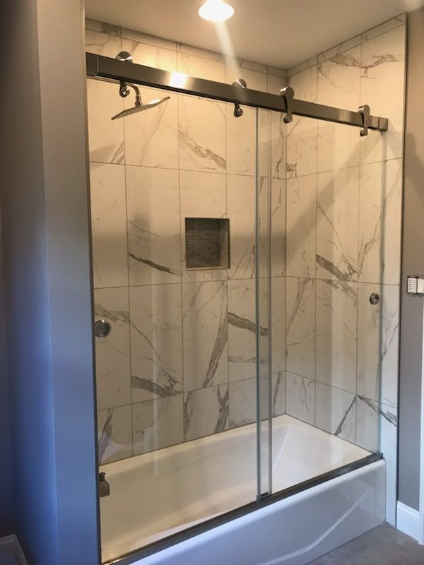 Glass Barn Door Shower Doors.Barndoor Style Bypass Doors On Tub In 2019 Tub Shower