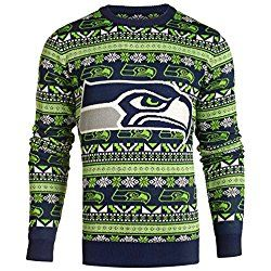 SEATTLE SEAHAWKS 2016 AZTEC PRINT UGLY CREW NECK SWEATER DOUBLE EXTRA LARGE