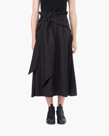 Oversize skirt Malloni // Oversize skirt with overlapping fabric around the waist and side welt pocket. Made of wool and viscose cloth wide fit